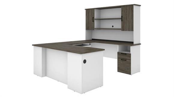 U Shaped Desks Bestar U-Shaped Desk with Hutch