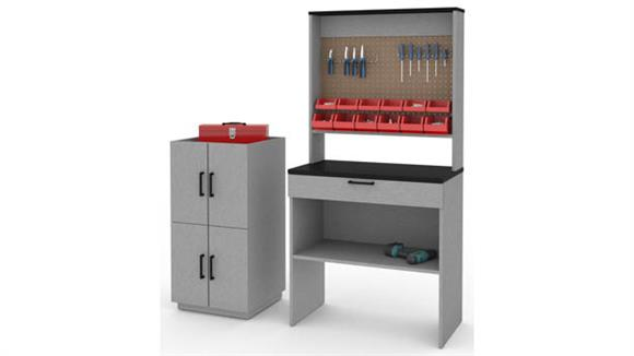 Benches Bestar 4-Piece Workbench and 2 Stackable Cabinets Set