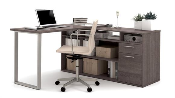 L Shaped Desks Bestar L-Shaped Desk with Lateral File and Bookcase