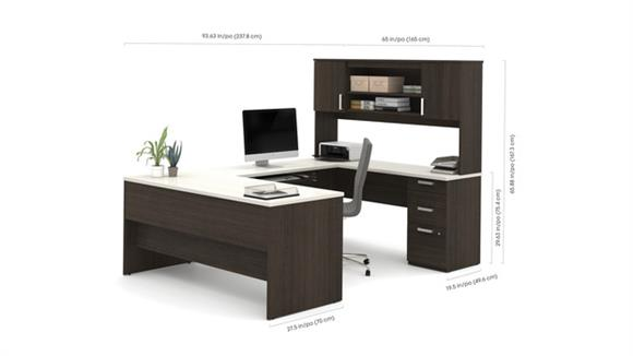 U Shaped Desks Bestar U-Shaped Desk with Lateral File and Bookcase