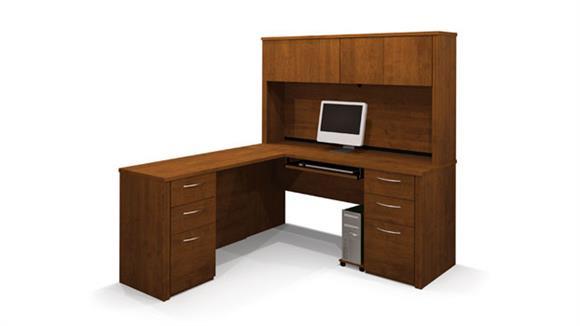 L Shaped Desks Bestar L Shaped Desk with Hutch 60853