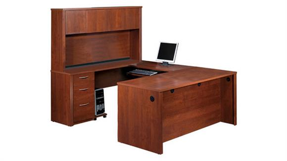U Shaped Desks Bestar U Shaped Desk with Hutch 60857