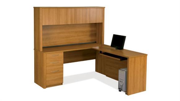 L Shaped Desks Bestar L Shaped Desk with Hutch 60865