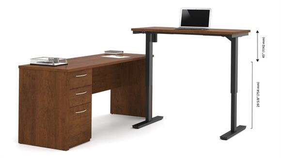 Adjustable Height Desks & Tables Bestar L-Desk Including Electric Height Adjustable Table