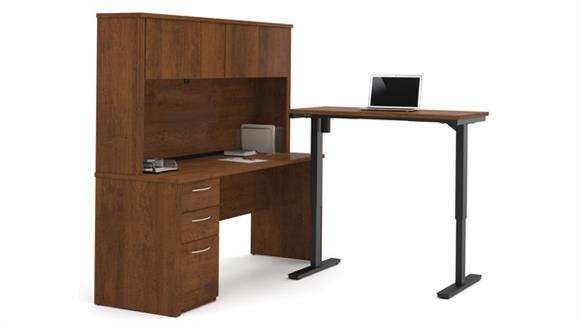 Adjustable Height Desks & Tables Bestar L-Desk with Hutch Including Electric Height Adjustable Table