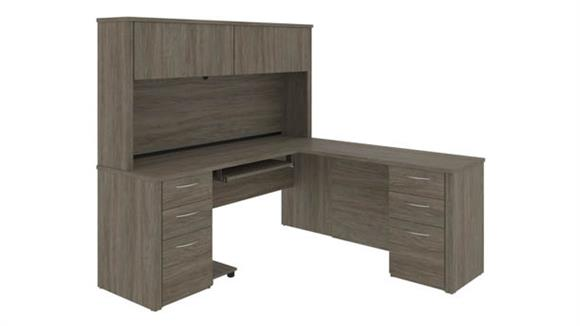"L Shaped Desks Bestar 71""W L-Shaped Desk with Hutch and 2 Pedstals"