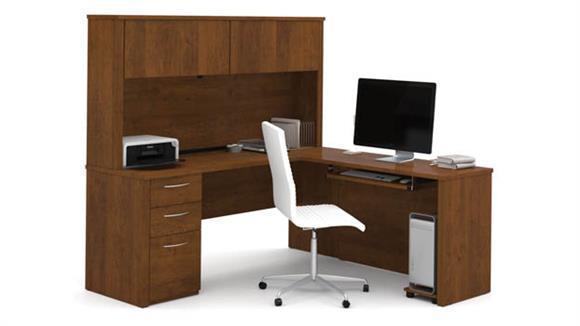 "L Shaped Desks Bestar 71"" L-Shaped Desk with Hutch"