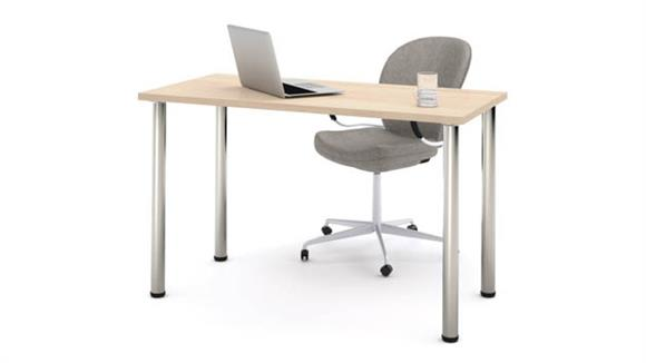 "Tables Bestar 24"" x 48"" Table with Round Metal Legs"
