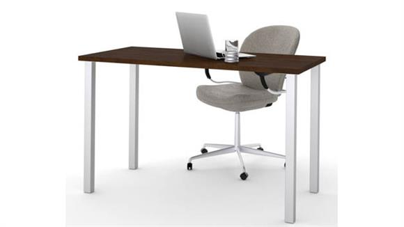 """Computer Tables Bestar 24"""" x 48"""" Table with Square Metal Legs"""