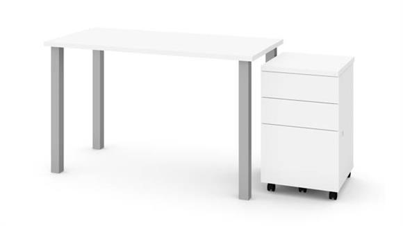 "Computer Tables Bestar 24"" x 48"" Table with Square Metal Legs and Assembled Mobile Filing Cabinet"