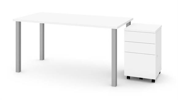 "Computer Tables Bestar 30"" x 60"" Table with Square Metal Legs and Assembled Mobile Filing Cabinet"