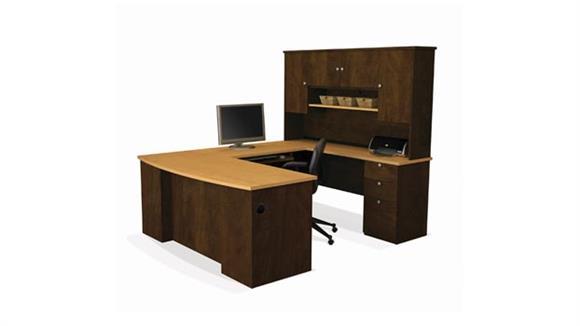 U Shaped Desks Bestar U Shaped Desk with Hutch