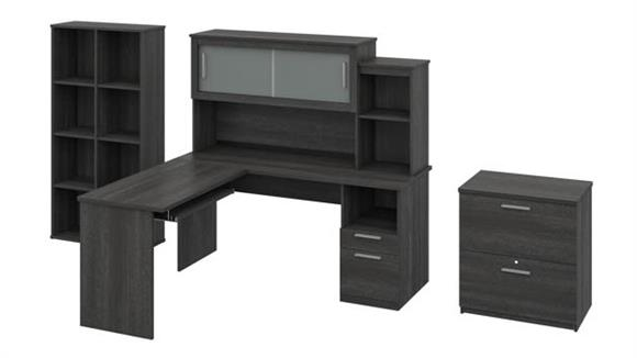 L Shaped Desks Bestar L-Shaped Desk with Hutch, Lateral File Cabinet and Cubby Bookcase