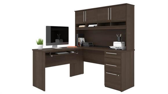 """L Shaped Desks Bestar 60"""" W L-Shaped Desk with Hutch"""