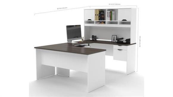 U Shaped Desks Bestar U Shaped Desk with File & Bookcase