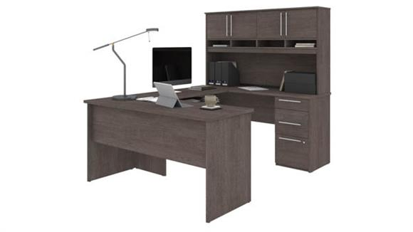 "U Shaped Desks Bestar 60""W U-Shaped Desk with Hutch"