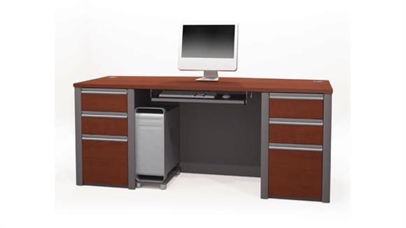 "Executive Desks Bestar 71""W Bow Front Double Pedestal Executive Desk"