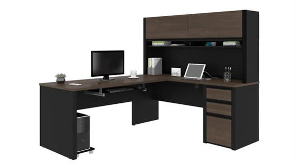 "L Shaped Desks Bestar 72""W x 83""D L-Shaped Workstation with Hutch"