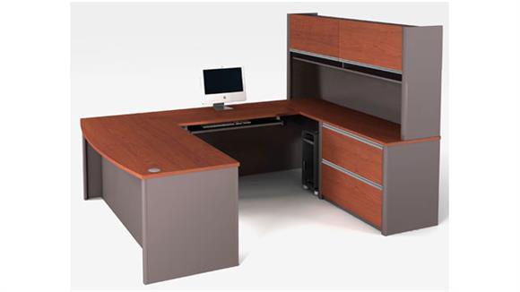 U Shaped Desks Bestar Bow Front U Shaped Desk with Hutch 93863