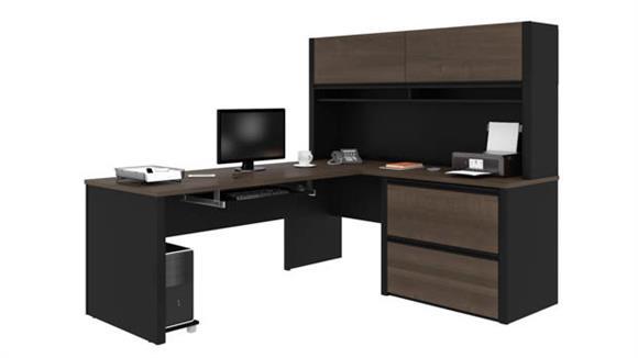 """L Shaped Desks Bestar 72""""W x 83""""D L-Shaped Workstation with Hutch"""