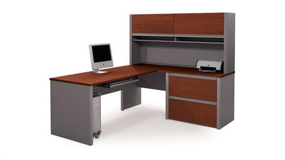L Shaped Desks Bestar Desk with Hutch and Return