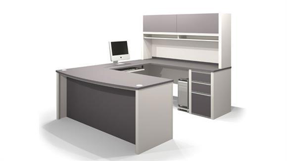 U Shaped Desks Bestar Bow Front U Shaped Desk with Hutch 93879