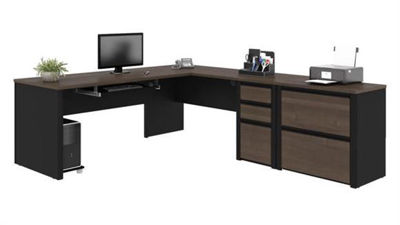 L Shaped Desks Bestar L-Shaped Workstation with Lateral File