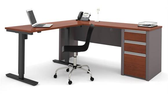 L Shaped Desks Bestar L Shaped Desk with Adjustable Height Table