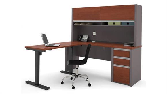 L Shaped Desks Bestar L Shaped Desk with Hutch & Adjustable Height Table