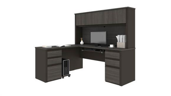 """L Shaped Desks Bestar 72""""W x 63""""D L-Shaped Workstation with 2 Pedestals"""