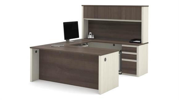U Shaped Desks Bestar U Shaped Workstation with Two Pedestals