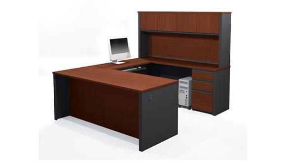 U Shaped Desks Bestar U Shaped Desk with Hutch 99853