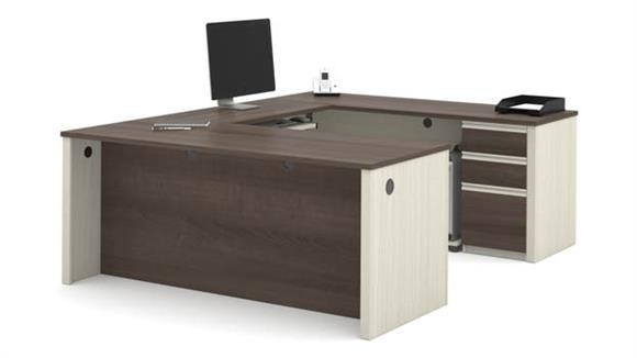 U Shaped Desks Bestar U Shaped Workstation with One Pedestal
