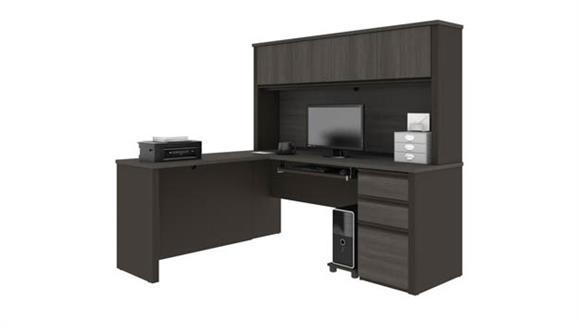 """U Shaped Desks Bestar 71""""W x 63""""D L-Shaped Workstation with 1 Pedestal"""