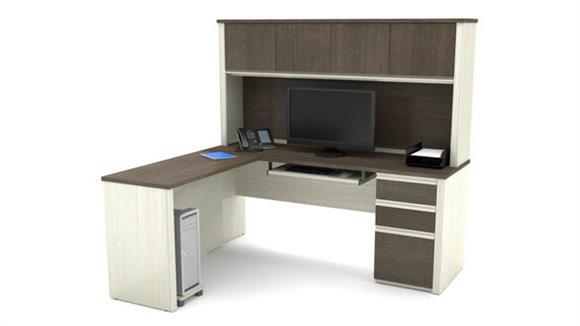 L Shaped Desks Bestar L-Shaped Workstation with 1 Pedestal