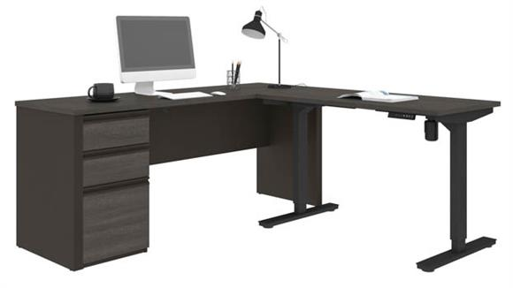 "Adjustable Height Desks & Tables Bestar 71""W x 71""D  Height Adjustable L-Shaped Desk"