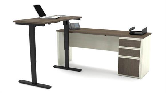 L Shaped Desks Bestar Height Adjustable Table L-Shaped Desk