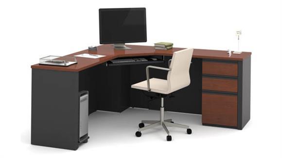 Corner Desks Bestar Corner Desk with 1 Pedestal