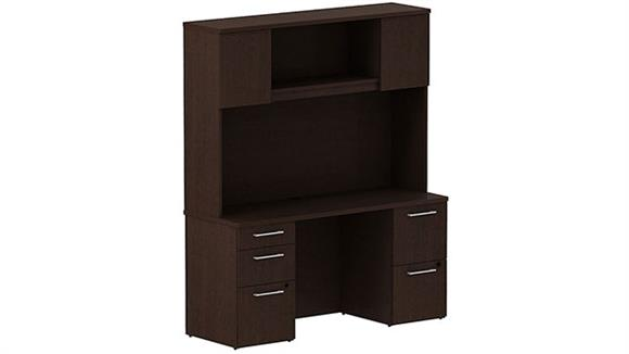 Office Credenzas Bush Furniture Double Pedestal Desk with Hutch
