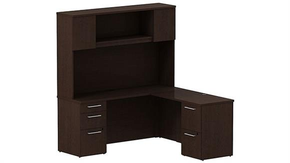 "L Shaped Desks Bush Furniture 66"" L Shaped Desk with Hutch"