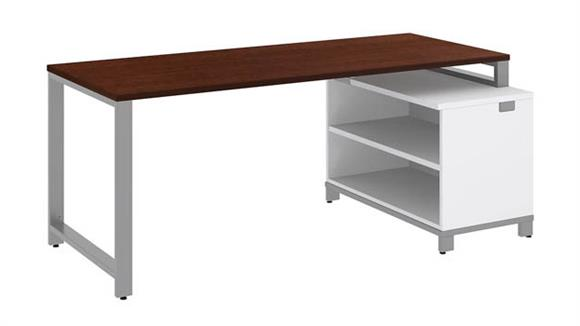 "Modular Desks Bush Furniture 72""W x 30""D Desk with 24""H Open Storage"