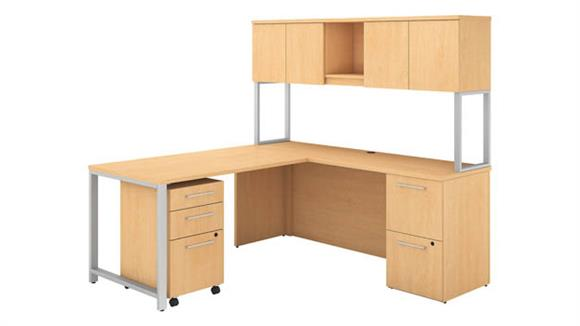 "Computer Desks Bush Furniture 72""W x 22""D L Shaped Desk with Hutch, 48""W Return and Storage"