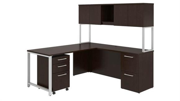 "Computer Desks Bush Furniture 72""W x 22""D L Shaped Desk with Hutch, 48""W Return and Storage"