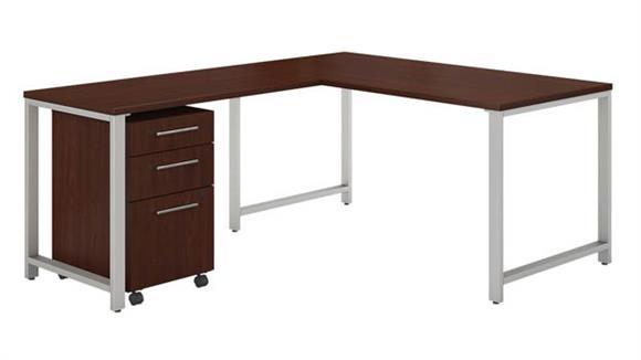 "Computer Desks Bush Furniture 60""W x 30""D L Shaped Desk with 42""W Return and 3 Drawer Mobile File Cabinet"