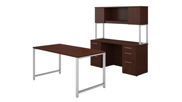 "Computer Desks Bush Furniture 60""W x 30""D Table Desk, Credenza with File Drawers and Hutch"