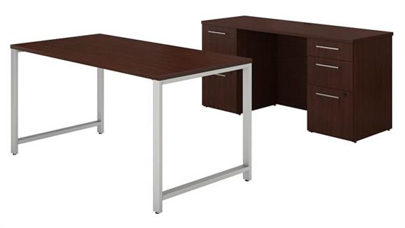 "Computer Desks Bush Furniture 60""W x 30""D Table Desk and Credenza with File Drawers"