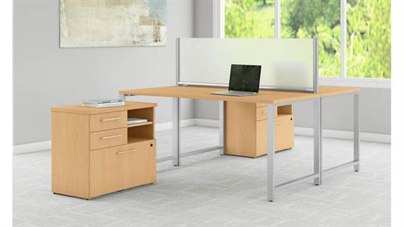 "Computer Desks Bush Furniture 60""W x 30""D 2 Person Workstation with Table Desks and Lateral File Cabinets"