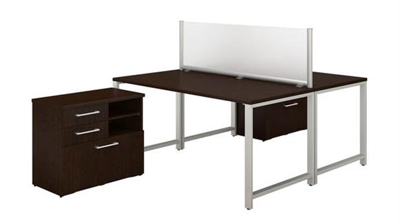 "Computer Desks Bush Furniture 60""W x 30""D 2 Person Workstation with Table Desks and Storage"