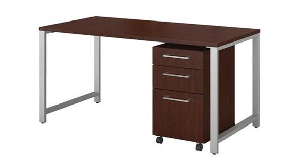 "Computer Desks Bush Furniture 60""W x 30""D Table Desk with 3 Drawer Mobile File Cabinet"