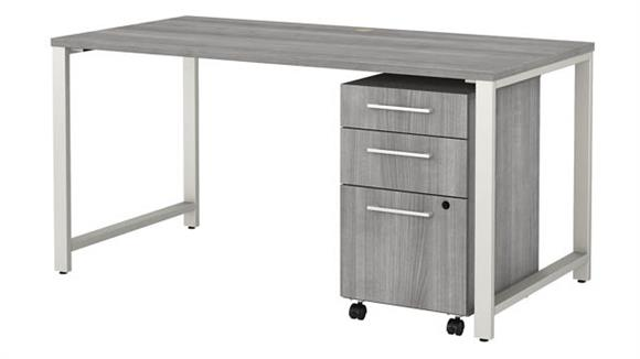 """Computer Tables Bush Furniture 60"""" W x 30"""" D Table Desk with 3 Drawer Mobile File Cabinet"""